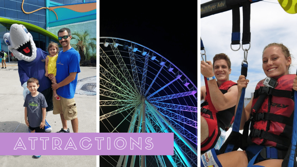 Collage featuring Ripleys Aquarium, SkyWheel Myrtle Beach, and Parasailing