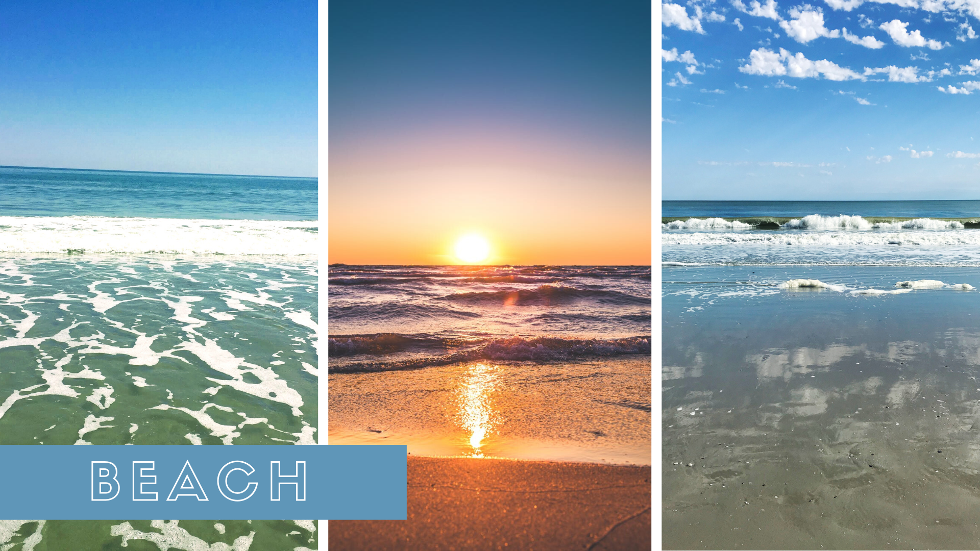 Beach collage feature a sunrise and waves