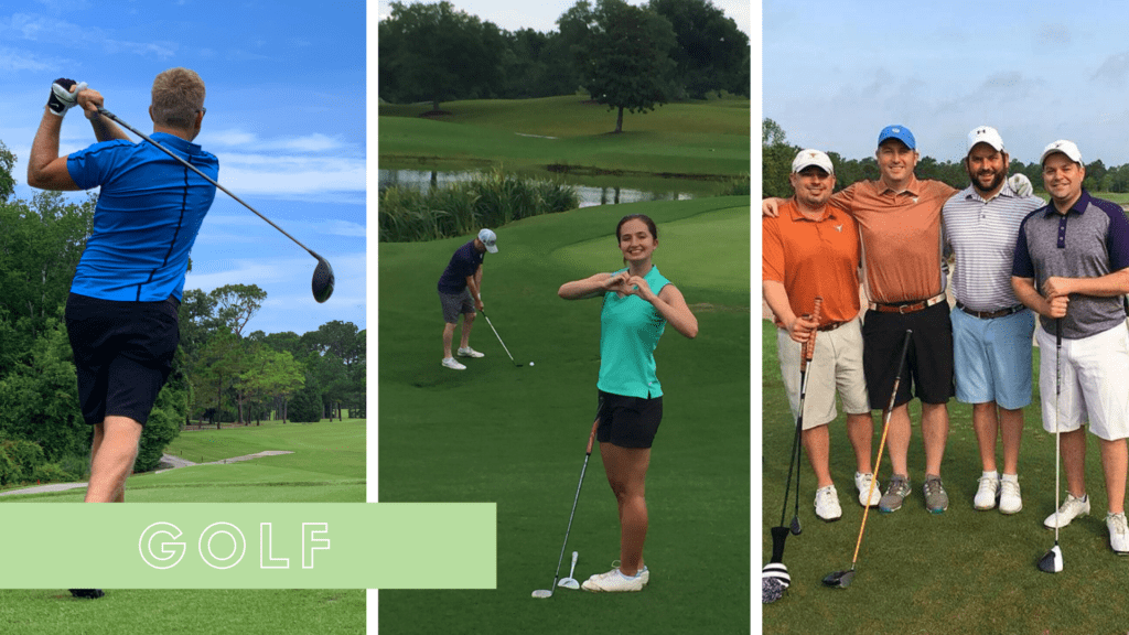 Collage feature men and women golfing