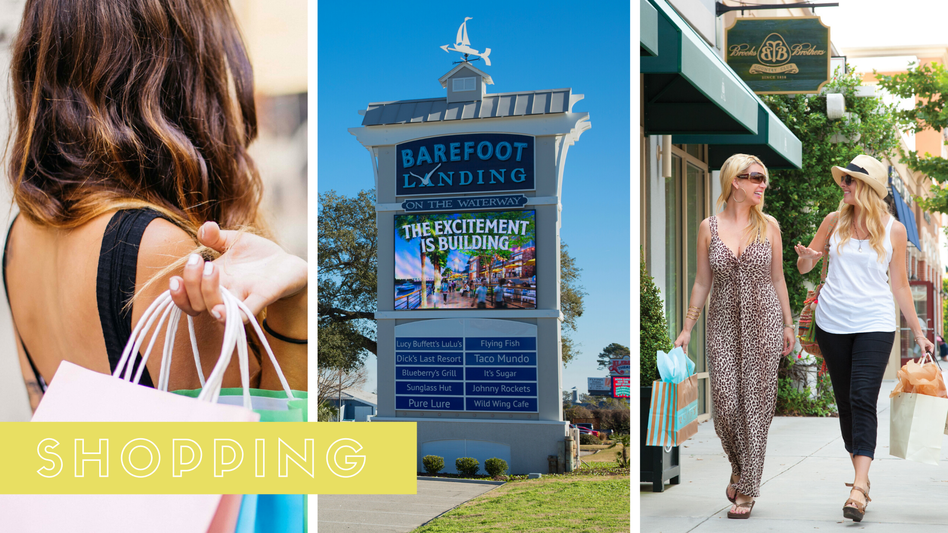 Collage featuring women shopping and Barefoot Landing
