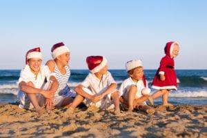 Kids on Beach at Christmas